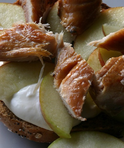 Smoked Mackerel and Apple Bagels