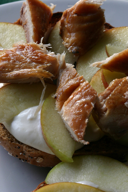Smoked Makeral and Apple Bagels